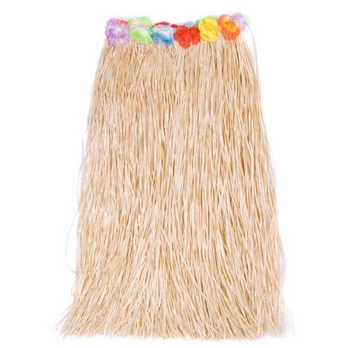 Hawaiian Skirt Long with Flowers Natural