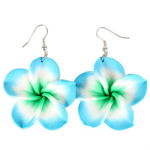 blue frangipani earrings