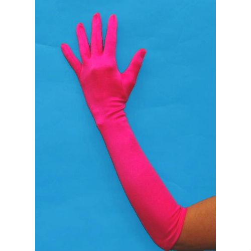hot pink satin gloves