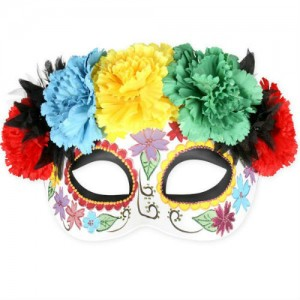 Frida Bright Flowers Day of the Dead Mask
