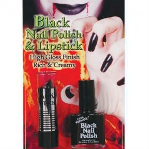 black lipstick and nailpolish