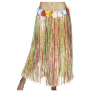 Hawaiian Hula Skirt Long Mulit-Colour with Flowers