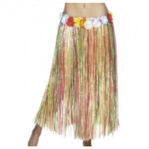 Hawaiian Hula Skirt Long Mulit-Colour with Flowers