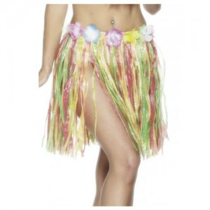 Hawaiian Hula Skirt Short Mulit-Colour with Flowers