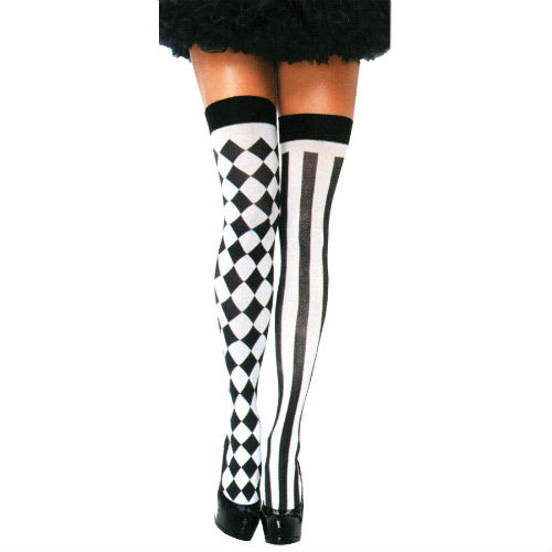 harlequin thigh highs black white